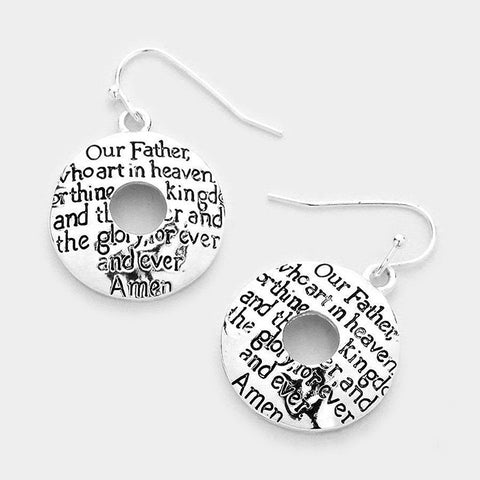 Filigree Lord's Prayer Earrings