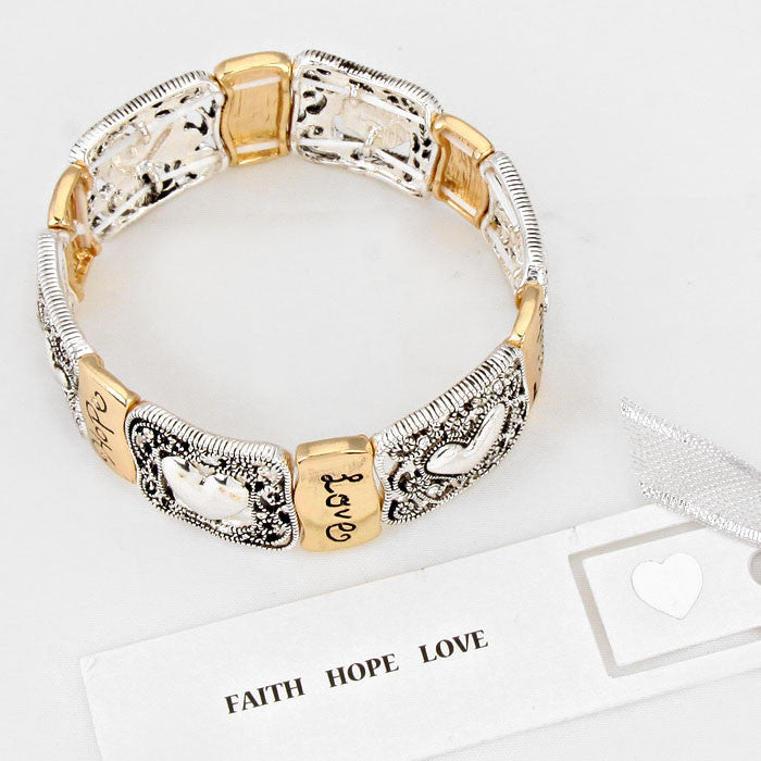 Filigree Gold Faith Hope Love Heart Bracelet