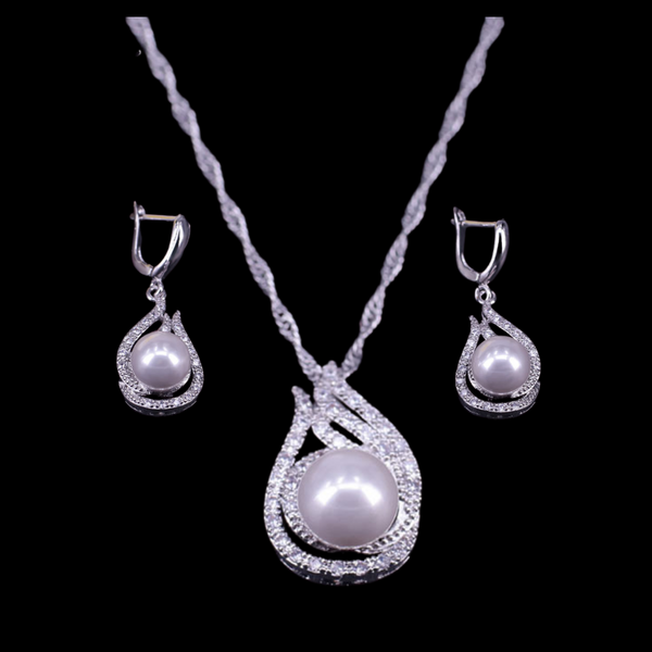 Sterling Silver Pearl Necklace Set