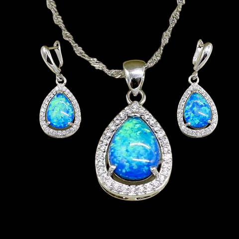 Sterling Silver Aqua Opal Teardrop Necklace Set