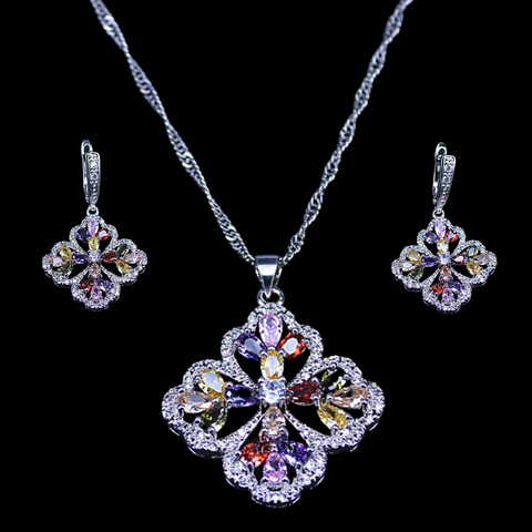 Sterling Silver Multi-Color Floral Necklace Set