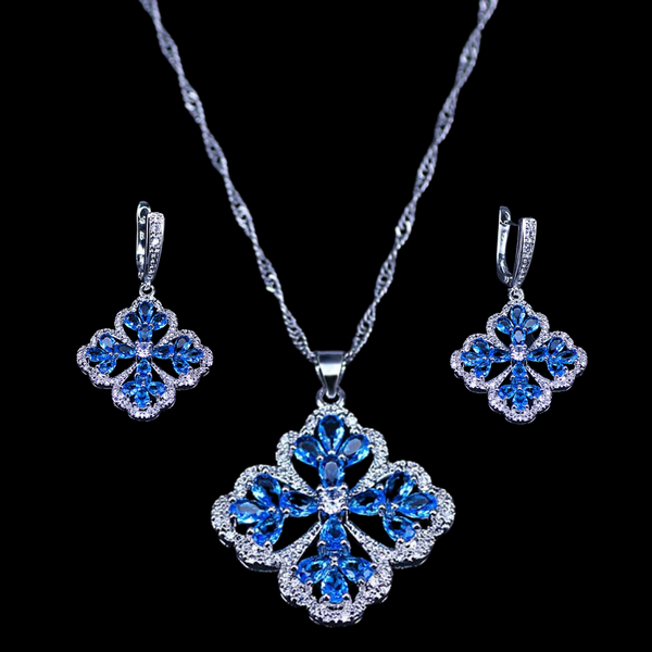 Sterling Silver Aquamarine Floral Necklace Set