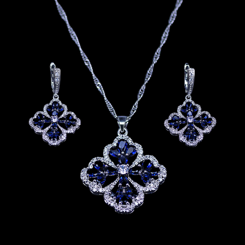 Sterling Silver Blue Sapphire Floral Necklace Set