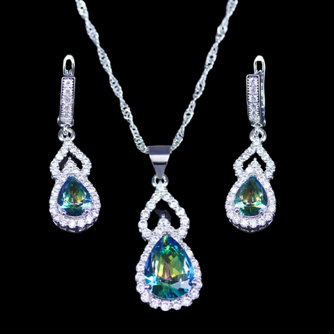 Sterling Silver Mystic Blue Green Teardrop Necklace Set