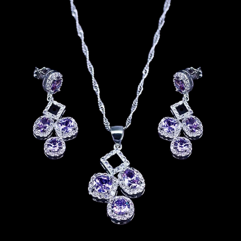 Sterling Silver Amethyst Geometric Necklace Set