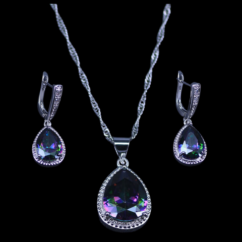 Sterling Silver Mystic Rainbow Necklace Set