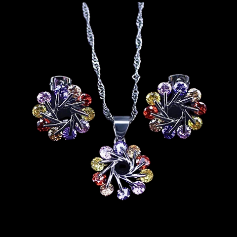 Sterling Silver Multi-Color Swivel Necklace Set