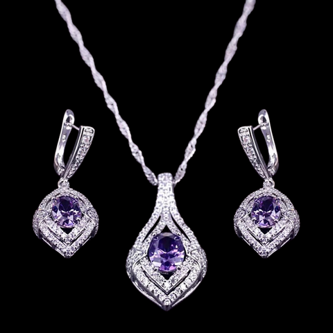 Sterling Silver Amethyst Cubic Zirconia Necklace Set