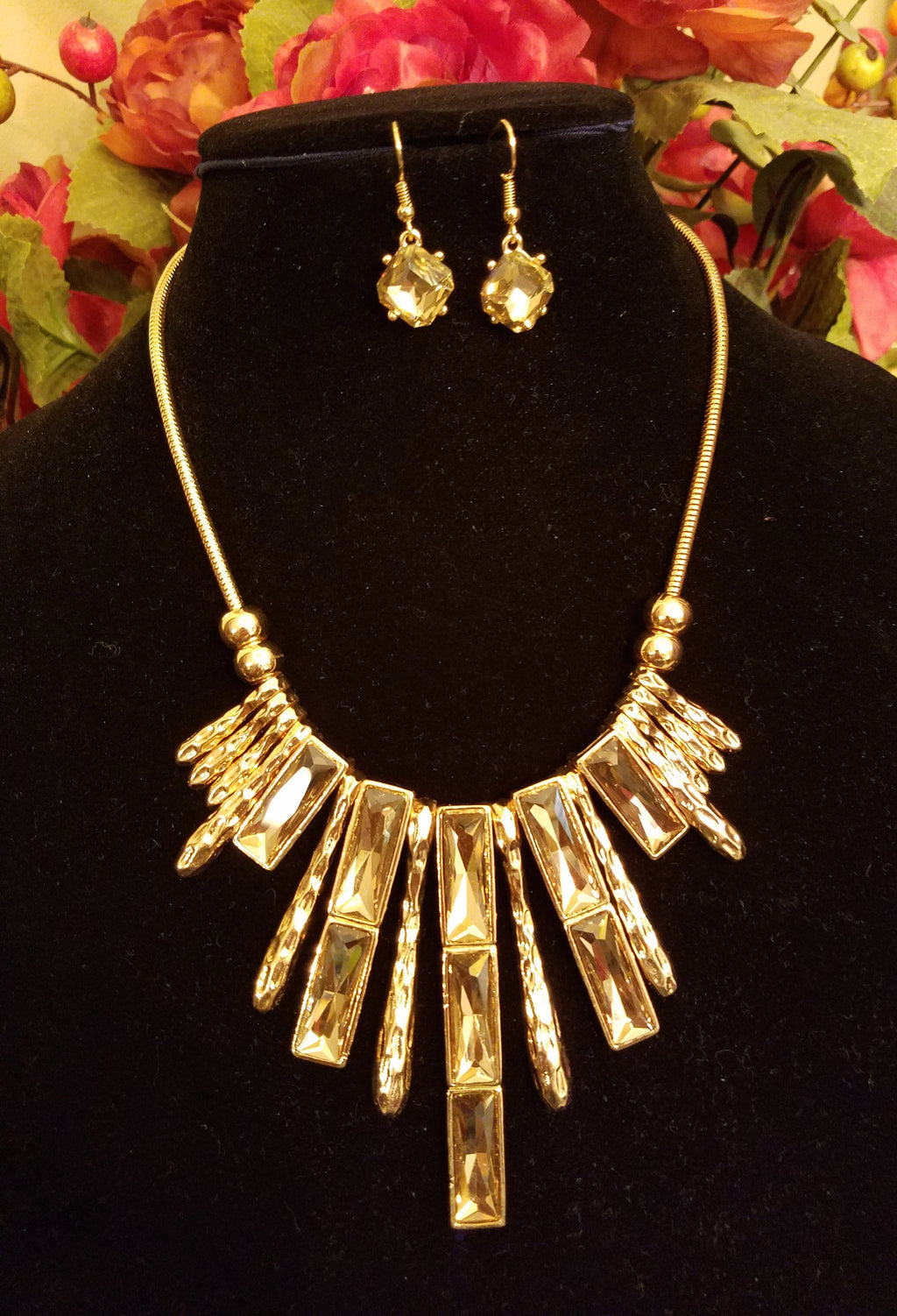 Golden Chocolate Bar Fashion Necklace Set - Bedazzled By Jeanelle