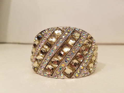 Large Chamapagne Bangle Rhinestone Bracelet - Bedazzled By Jeanelle