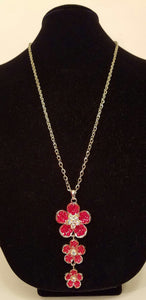 Long Red Rhinestone Floral Necklace - Bedazzled By Jeanelle