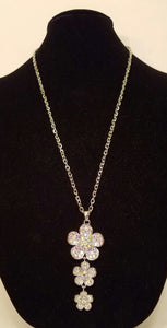 Long AB Crystal Rhinestone Floral Necklace - Bedazzled By Jeanelle