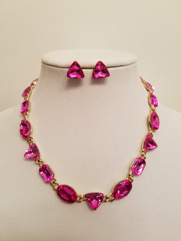 Geometric Crystal Statement Necklace Set - Bedazzled By Jeanelle