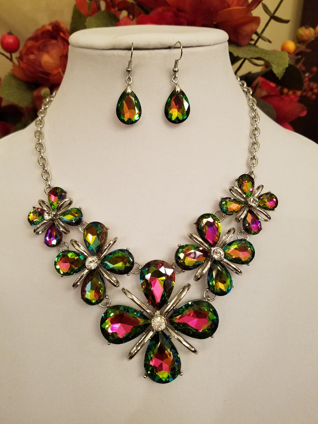 Green Vitrail Floral Crystal Statement Necklace Set - Bedazzled By Jeanelle