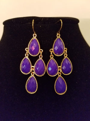 Dazzling Purple Teardrop Chandelier Fashion Earrings - Bedazzled By Jeanelle