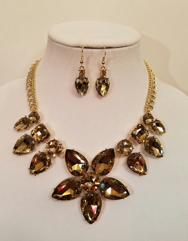 Chocolate Gold Floral Crystal Statement Necklace Set - Bedazzled By Jeanelle
