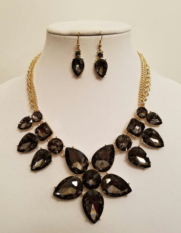 Floral Crystal Statement Necklace Set - Bedazzled By Jeanelle
