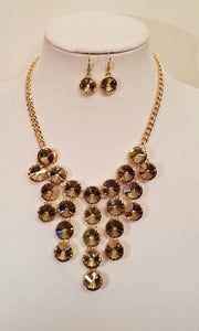 Sandy Brown Gold Crystal Rhinestone Bib Statement Necklace Set - Bedazzled By Jeanelle