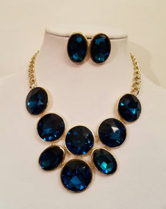 Montana Blue Gold Crystal Statement Necklace Set - Bedazzled By Jeanelle