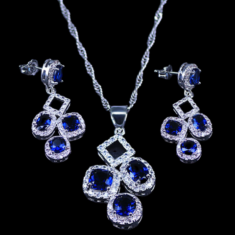 Sterling Silver Blue Sapphire Geometric Necklace Set