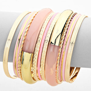 Multi-Layered Metal Bangle Bracelet Set - Bedazzled By Jeanelle - 1