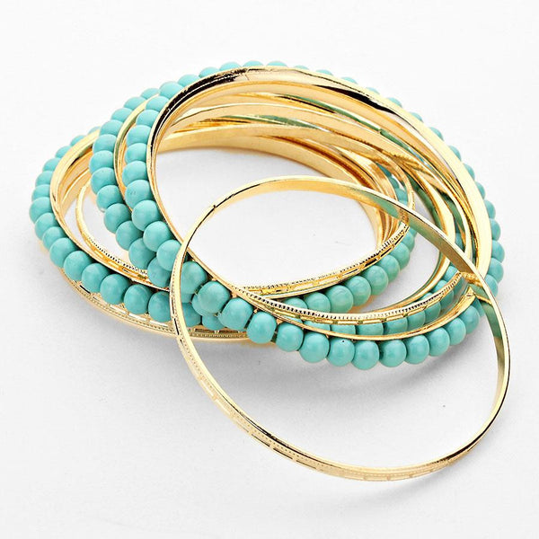 Layered Turquoise Pearl Metal Bangle Bracelet Set - Bedazzled By Jeanelle - 2
