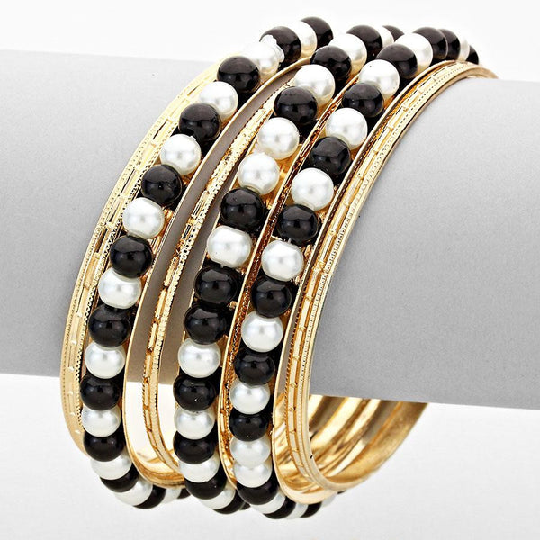 Layered Black-White Pearl Metal Bangle Bracelet Set - Bedazzled By Jeanelle - 1