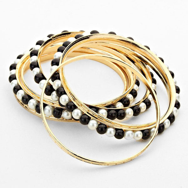 Layered Black-White Pearl Metal Bangle Bracelet Set - Bedazzled By Jeanelle - 2