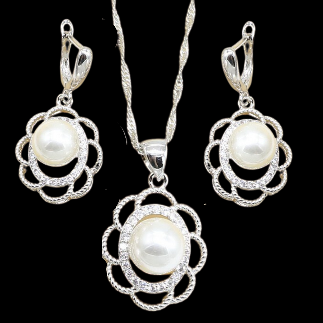Sterling Silver Pearl Flower Necklace Set