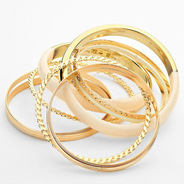 Multi-Layered Metal Bangle Bracelet Set - Bedazzled By Jeanelle - 2
