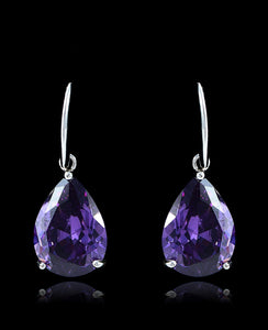 Purple Cubic Zirconia Drop Dangle Earrings - Bedazzled By Jeanelle - 1