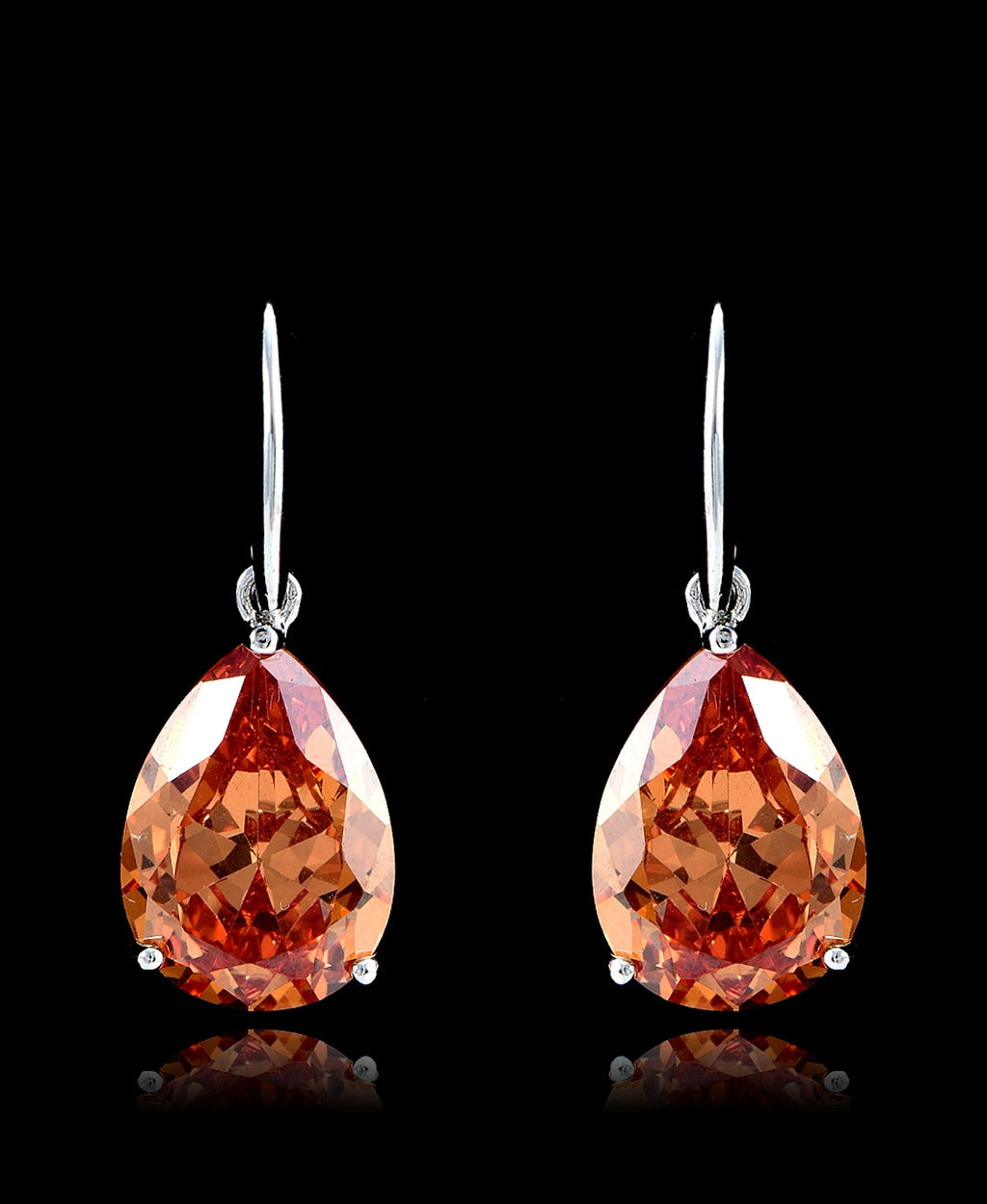 Fire Opal Cubic Zirconia Drop Dangle Earrings - Bedazzled By Jeanelle - 1