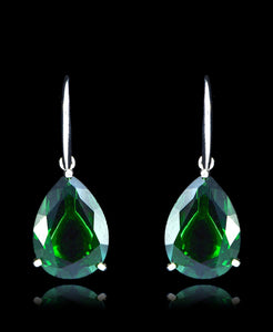 Emerald Green Cubic Zirconia Drop Dangle Earrings - Bedazzled By Jeanelle - 1