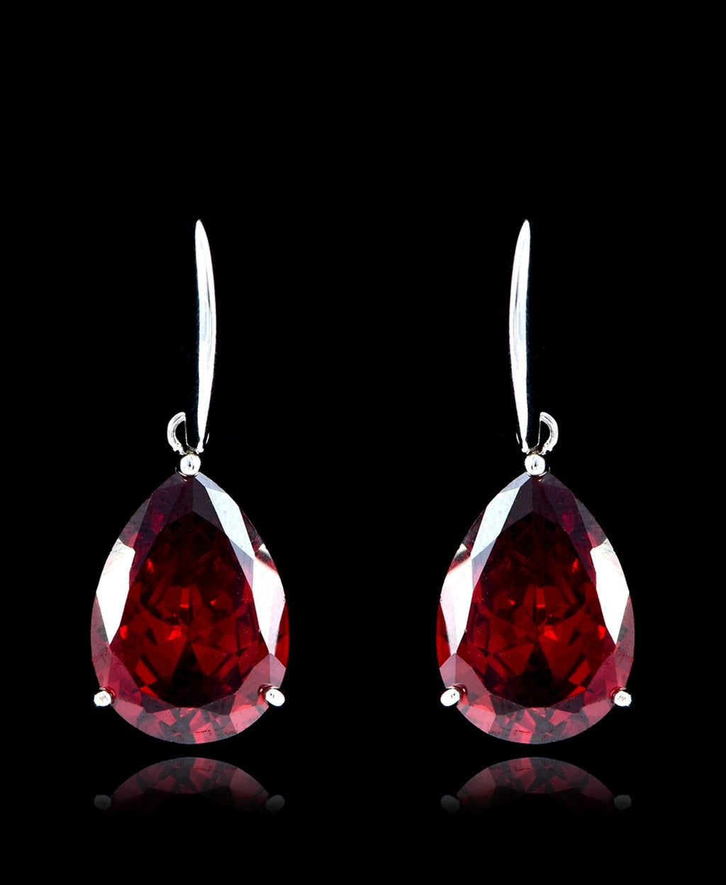 Garnet Cubic Zirconia Drop Dangle Earrings - Bedazzled By Jeanelle - 1