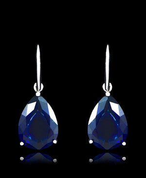 Sapphire Cubic Zirconia Drop Dangle Earrings - Bedazzled By Jeanelle - 1