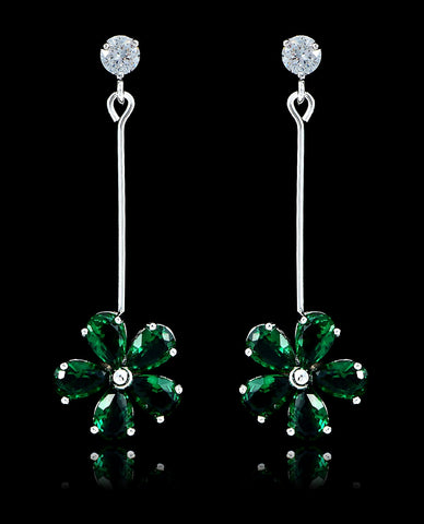 Emerald Green Cubic Zirconia Flower Earrings - Bedazzled By Jeanelle - 1