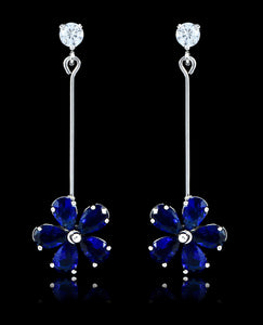 Sapphire Cubic Zirconia Flower Earrings - Bedazzled By Jeanelle - 1