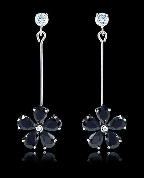Jet Black Cubic Zirconia Flower Earrings - Bedazzled By Jeanelle - 1