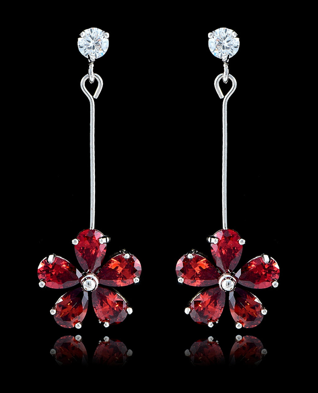 Garnet Cubic Zirconia Flower Earrings - Bedazzled By Jeanelle - 1