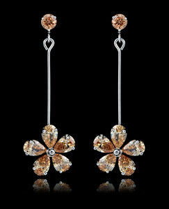 Champagne Cubic Zirconia Flower Earrings - Bedazzled By Jeanelle - 1