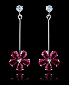 Fuchsia Cubic Zirconia Flower Earrings - Bedazzled By Jeanelle - 1