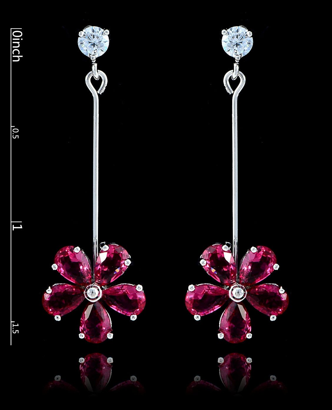 Fuchsia Cubic Zirconia Flower Earrings - Bedazzled By Jeanelle - 2