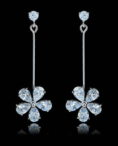 Crystal Cubic Zirconia Flower Earrings - Bedazzled By Jeanelle - 1