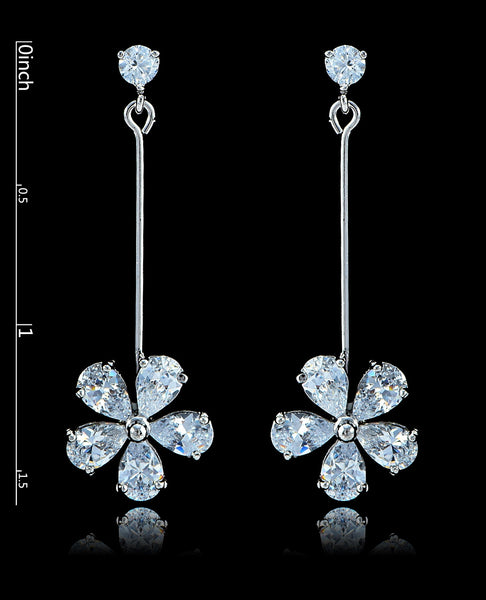 Crystal Cubic Zirconia Flower Earrings - Bedazzled By Jeanelle - 2