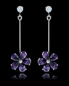 Purple Velvet Cubic Zirconia Flower Earrings - Bedazzled By Jeanelle - 1