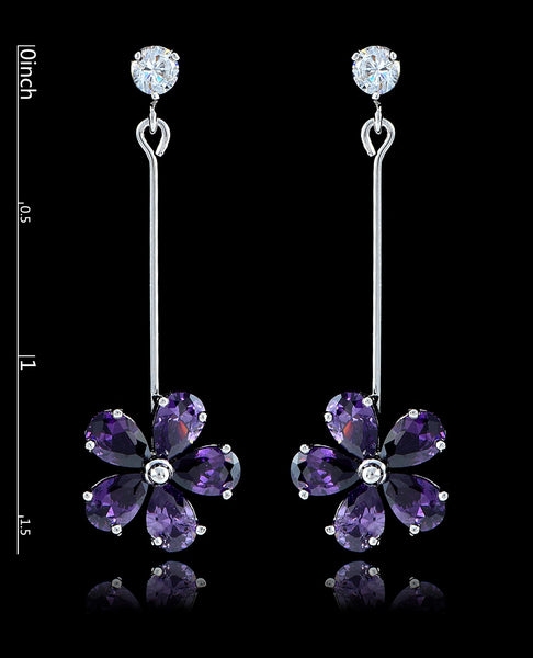 Purple Velvet Cubic Zirconia Flower Earrings - Bedazzled By Jeanelle - 2