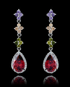 Multi Cubic Zirconia Drop and Dangle Teardrop Earrings - Bedazzled By Jeanelle - 1