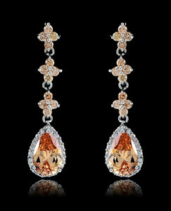 Light Peach Cubic Zirconia Drop and Dangle Teardrop Earrings - Bedazzled By Jeanelle - 1
