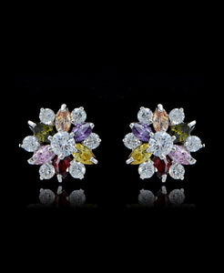 Multi Cubic Zirconia Flower Stud Earrings - Bedazzled By Jeanelle - 1