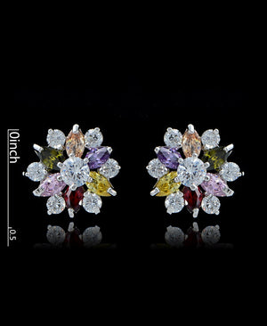 Multi Cubic Zirconia Flower Stud Earrings - Bedazzled By Jeanelle - 2